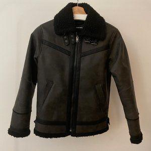 Diesel Faux Leather Sherling Jacket
